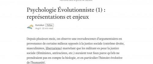 Psychologie évolutionnaire, biologie et sciences humaines :Kumokun partie 1 (août 2019)