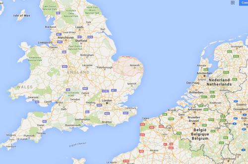 Le comté de Norfolk en rouge. Sont vraiment tarés ces hominines d'être allés jusqu'en Angleterre.